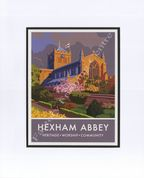 Hexham Abbey- Modern Railway Poster Style Mounted Print